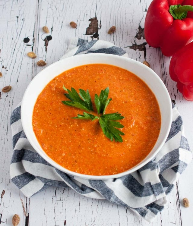 Romesco sauce is a Spanish staple made from roasted red peppers, tomatoes, and garlic that is served over fish, pasta, spaghetti squash, or a dip for bread.