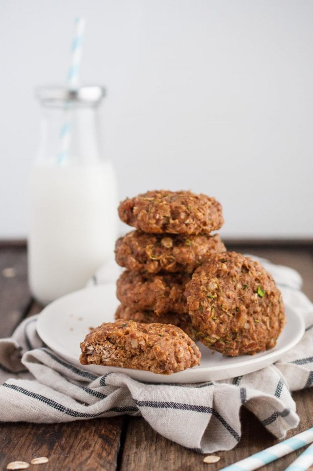 Healthy zucchini cookies that are both and delicious and good for you with banana, oats, flax, coconut oil, coconut sugar, and (of course) zucchini.