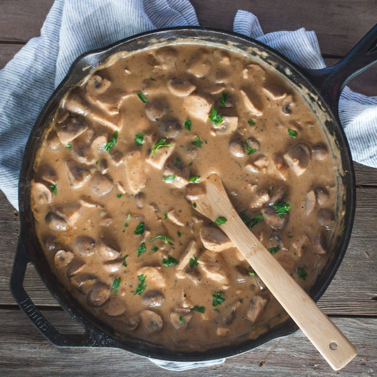 Overhead picture of chicken stroganoff in skillet