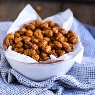 These spicy roasted chickpeas are a tasty and satisfying savory high protein snack with over 6 grams of protein in each delicious serving.