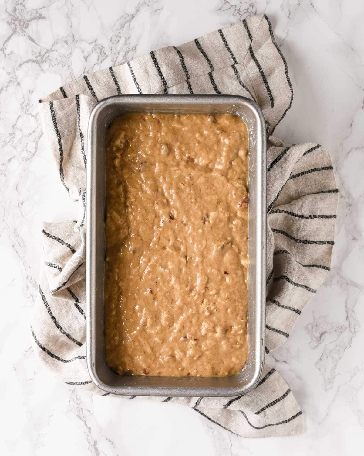 Banana Bread unbaked in pan