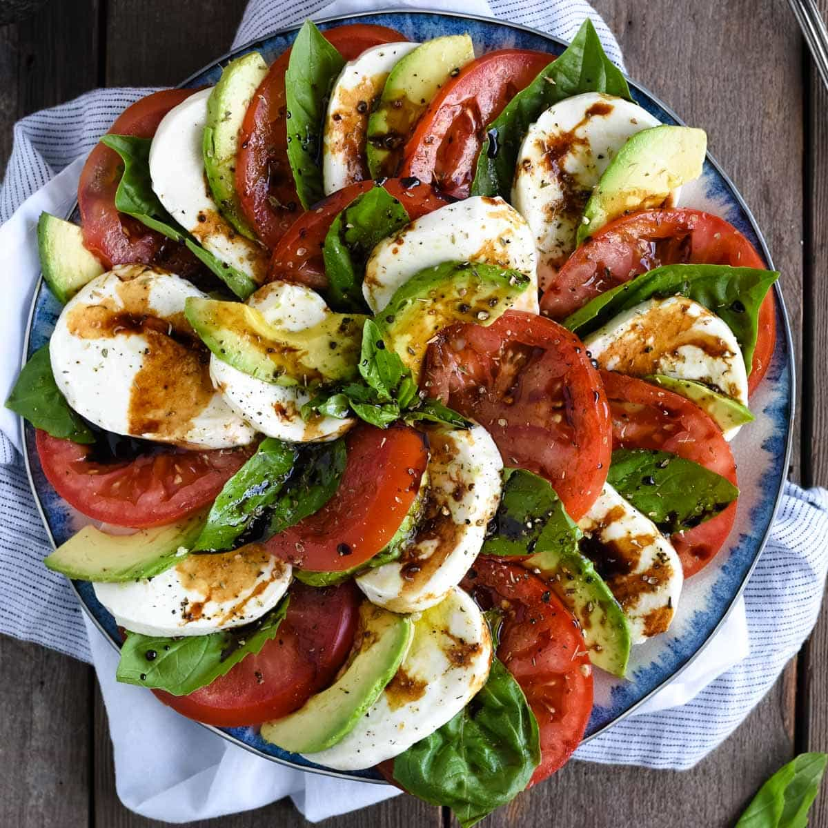 Avocado Caprese Salad With Balsamic Glaze Feasting Not Fasting