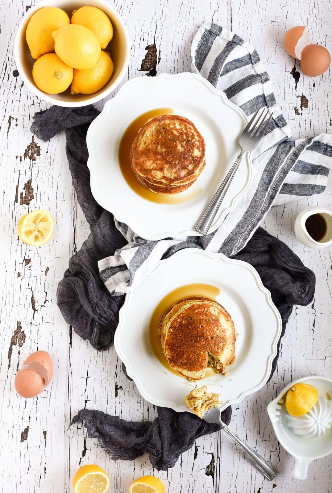 Lemon poppyseed pancakes overhead picture