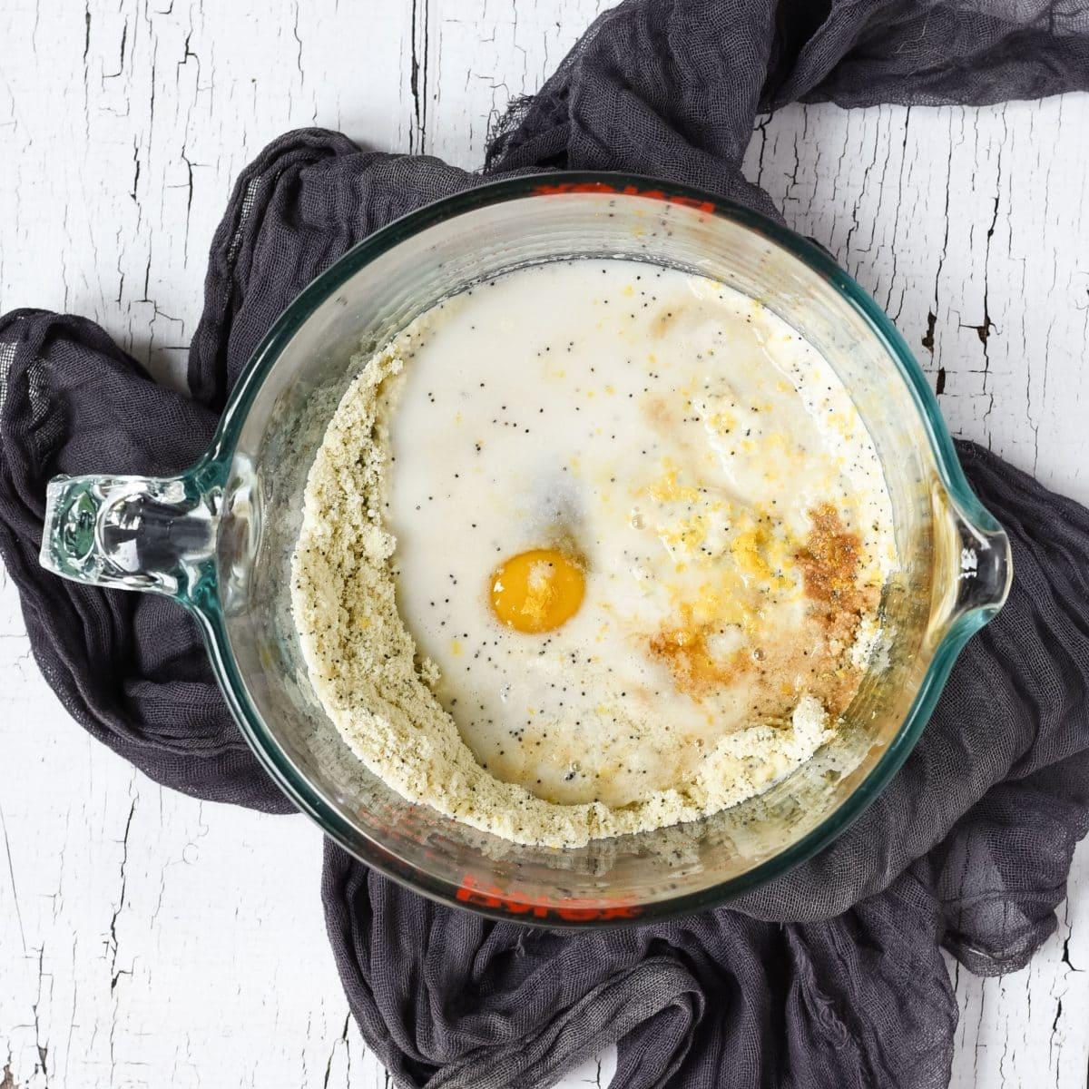 Poppy seed pancake batter - unmixed