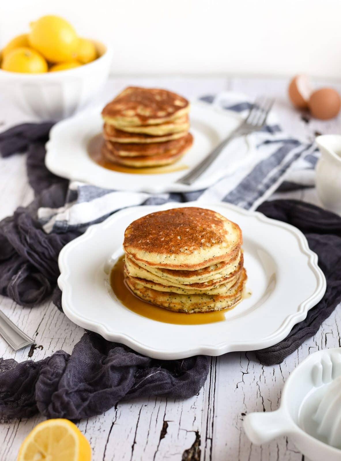 lemon poppyseed pancakes at breakfast table photo