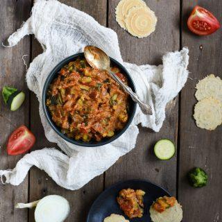 zucchini tomato dip overhead