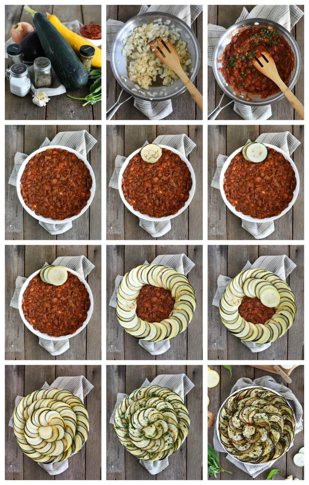 Baked ratatouille step by step assembly instructions
