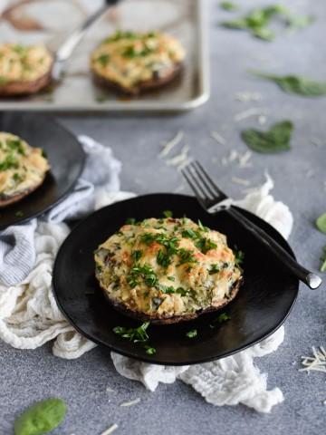 spinach artichoke dip stuffed portobello mushrooms