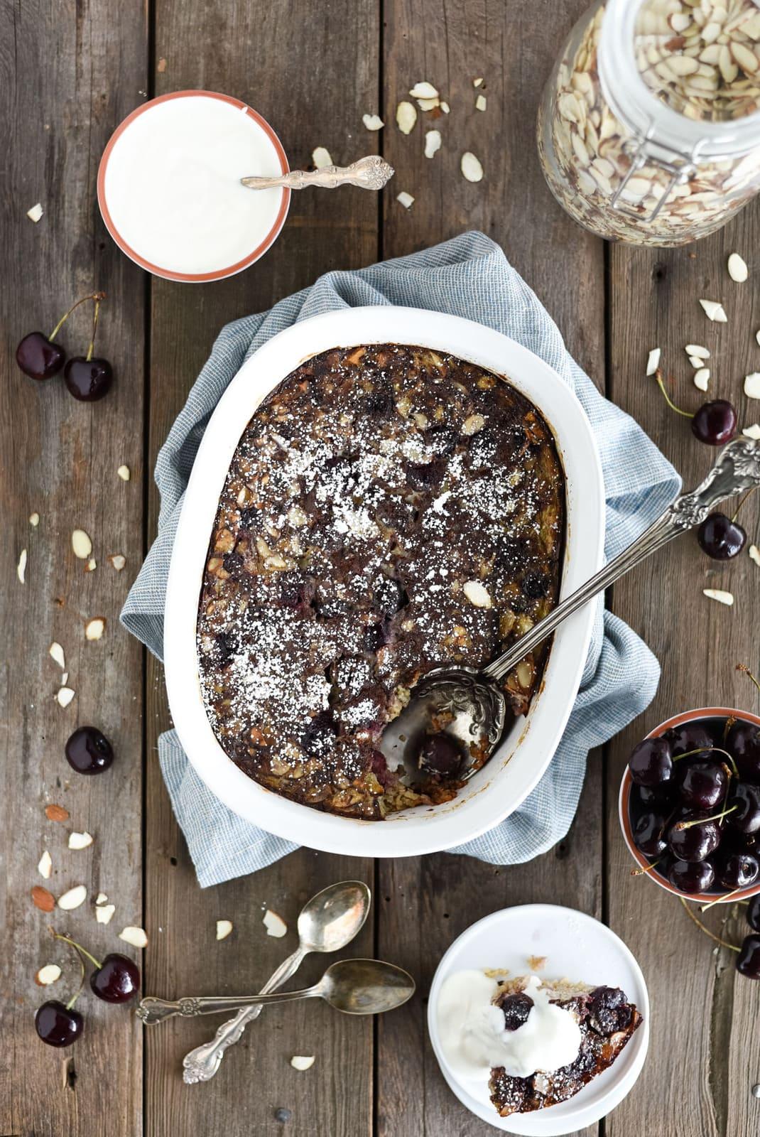 cherry steel cut oat breakfast bake