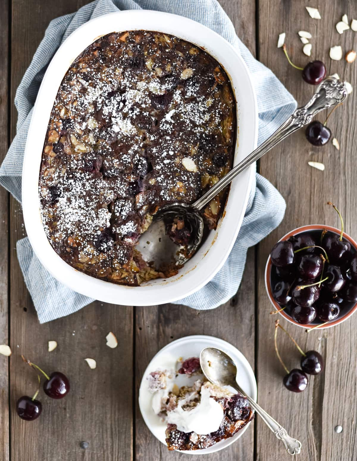 cherry steel cut oat breakfast bake