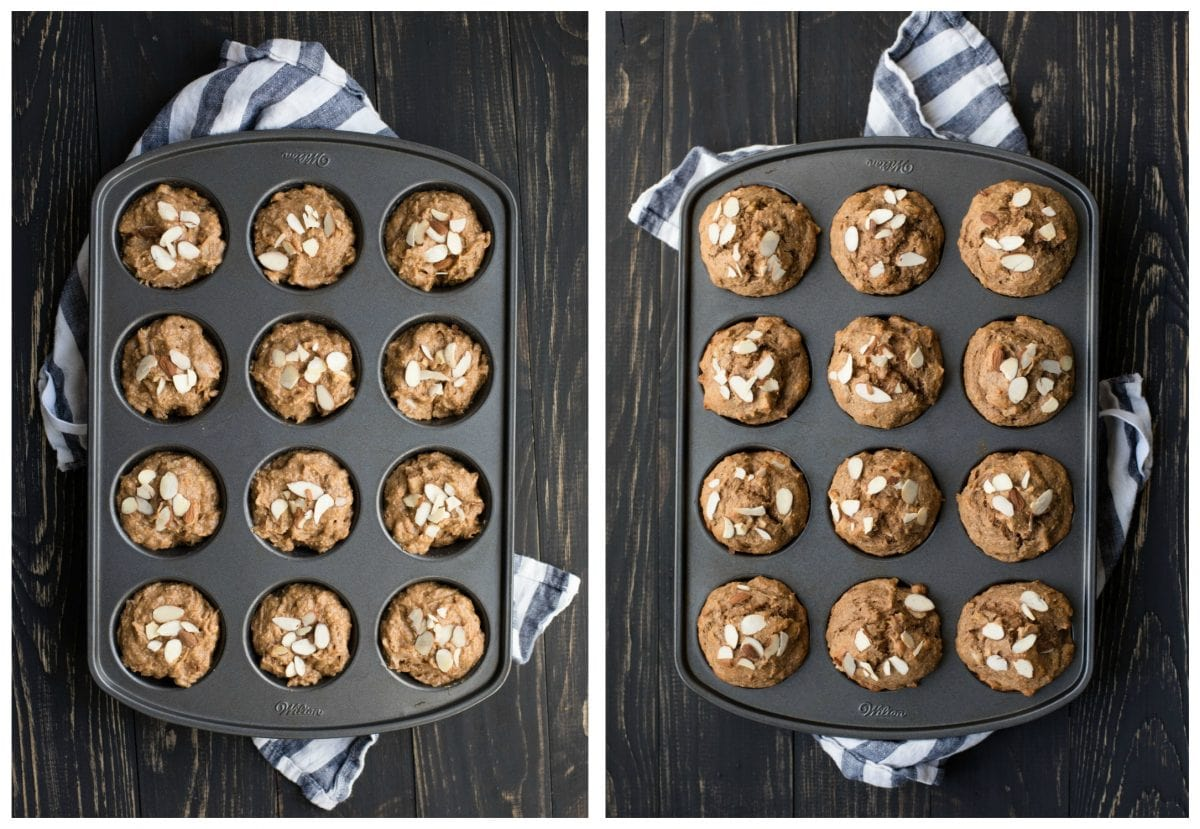 pan of muffins before and after baking