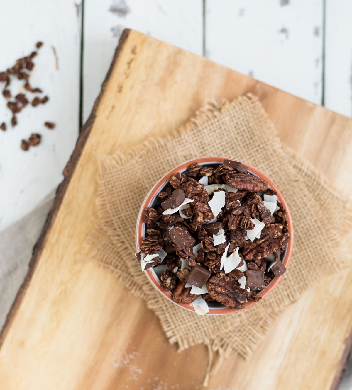 close up bowl of chocolate granola