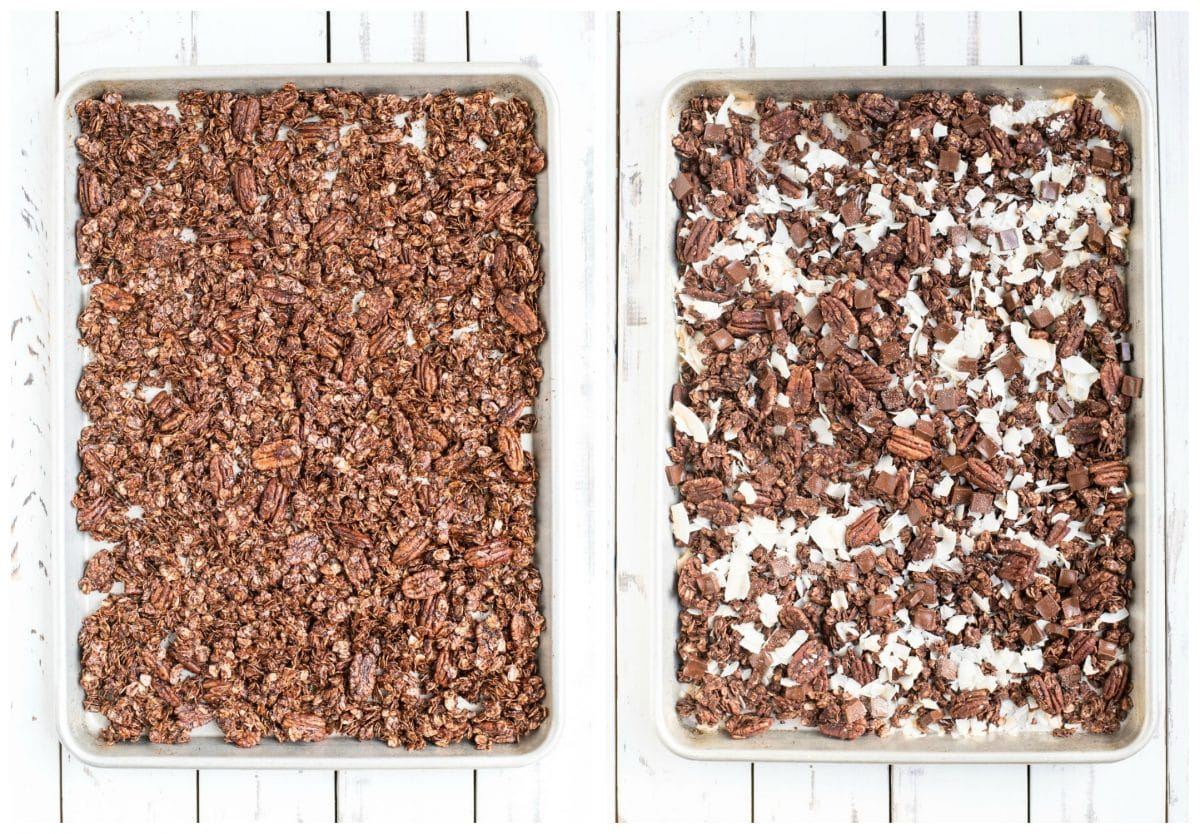 chocolate granola on a pan before and after baking