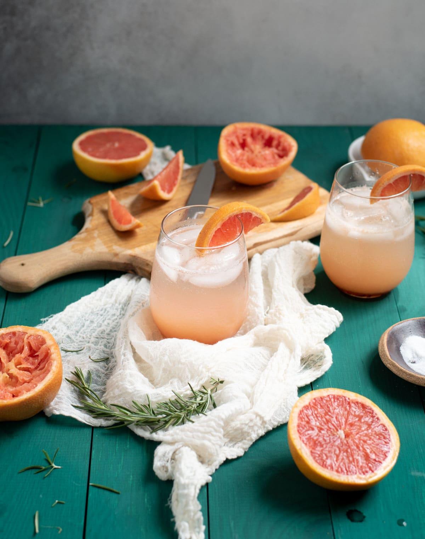 Two glasses of Rosemary grapefruit mocktail