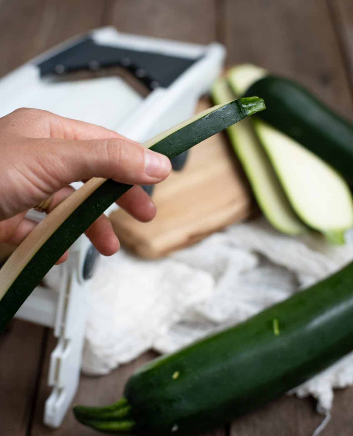 Slice of zucchini made with mandolin slicer