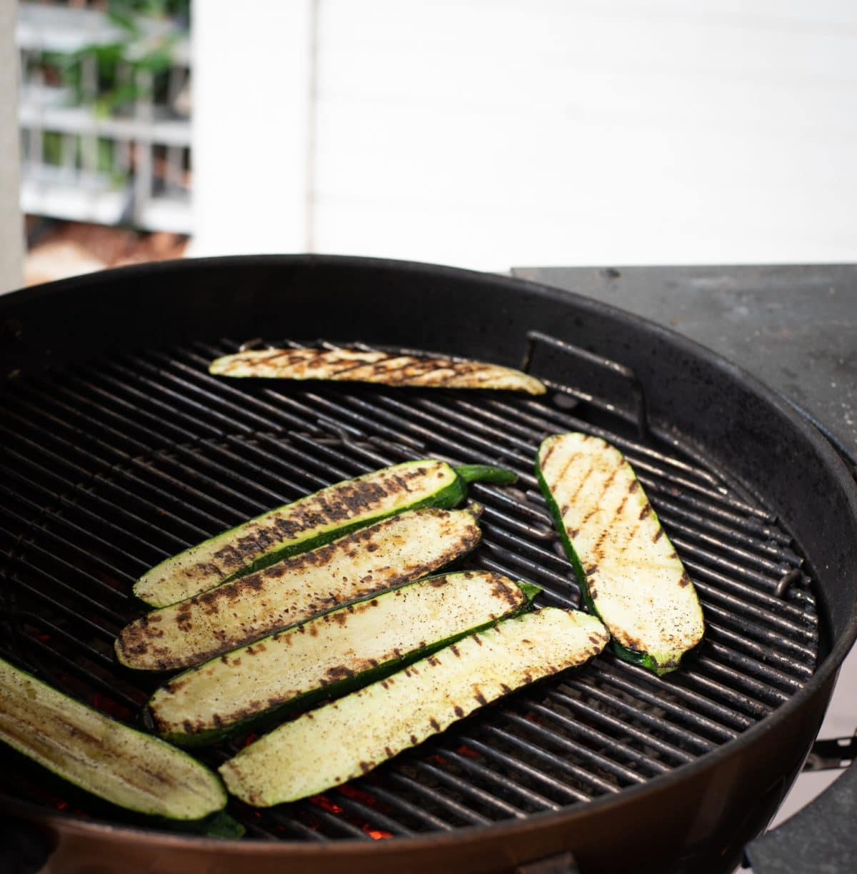 Grilled zucchini on a webber grill