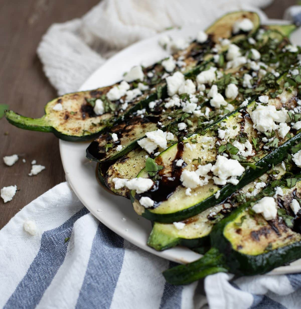 Close up photo of grilled zucchini
