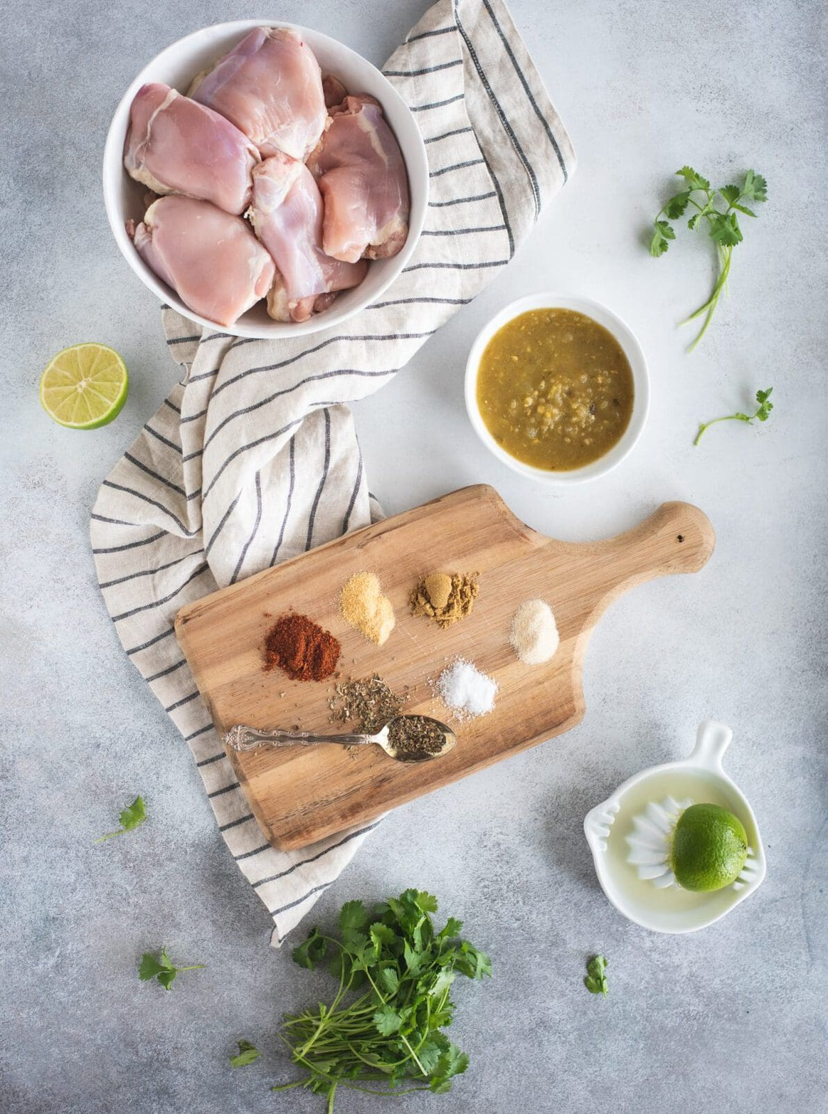 Overhead picture of ingredients for Slow Cooker Cilantro Lime Chicken Recipe