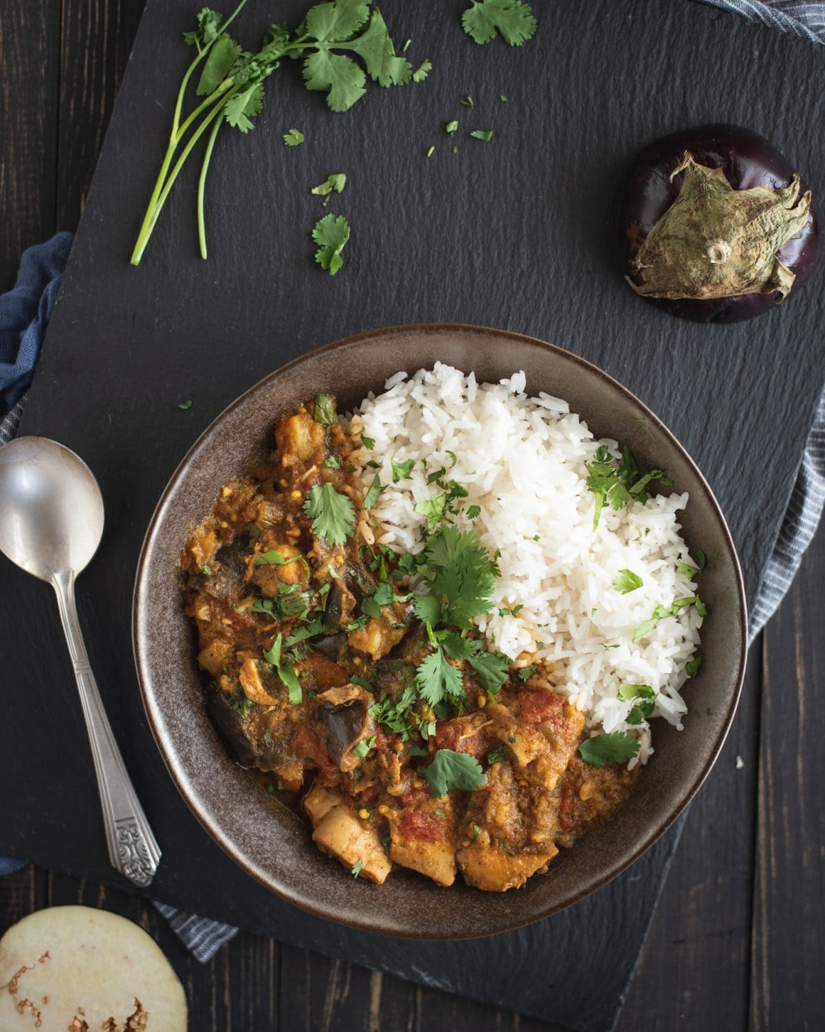 overhead close up photo of Instant Pot chicken curry with eggplant recipe on dark background