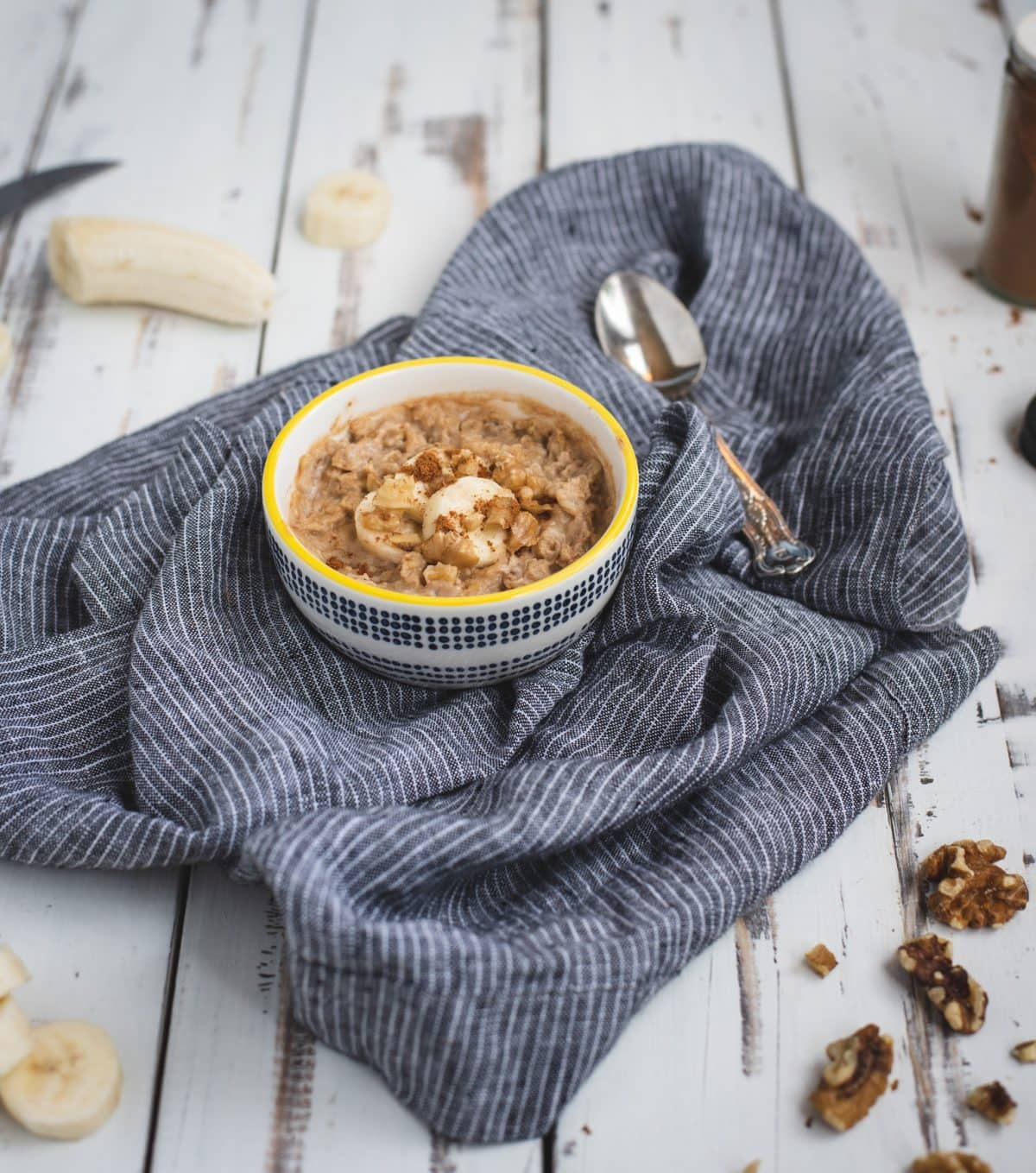 peanut butter banana oats from microwave in a bowl