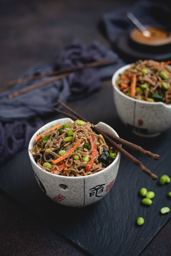 Bowls of soba noodles and peanut sauce