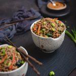 bowl of soba noodles in peanut sauce