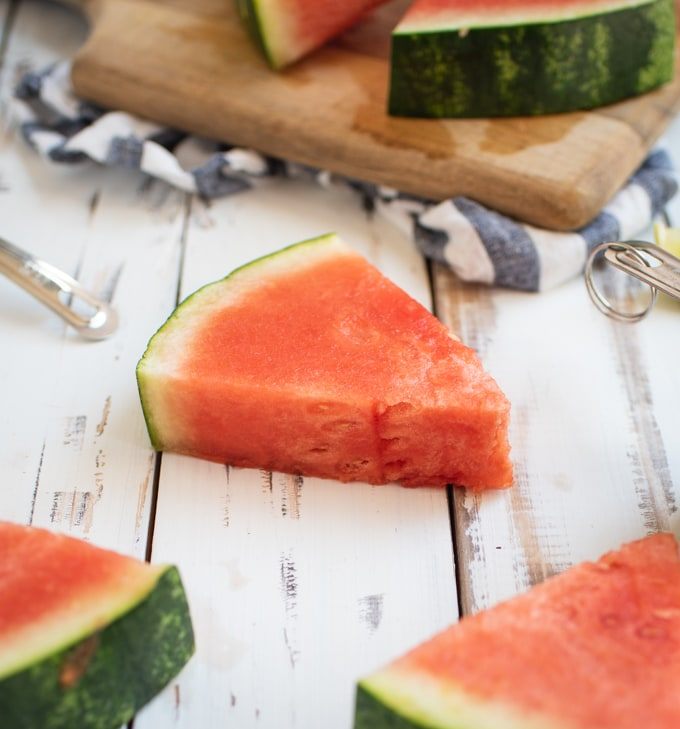 up close picture of watermelon wedge