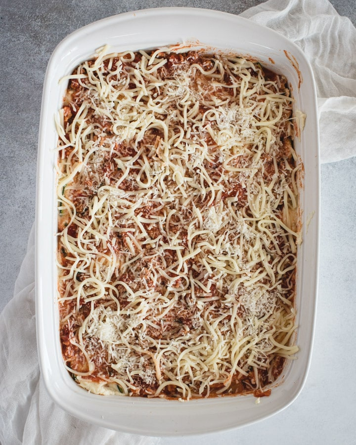 baking dish with lasagna layer
