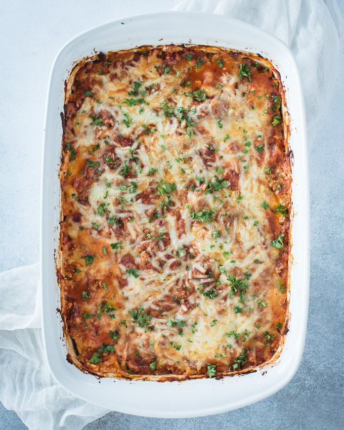 cooked white dish of zucchini lasagna