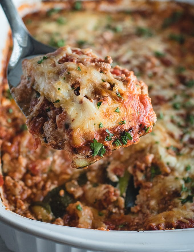 close up picture of serving of zucchini lasagna