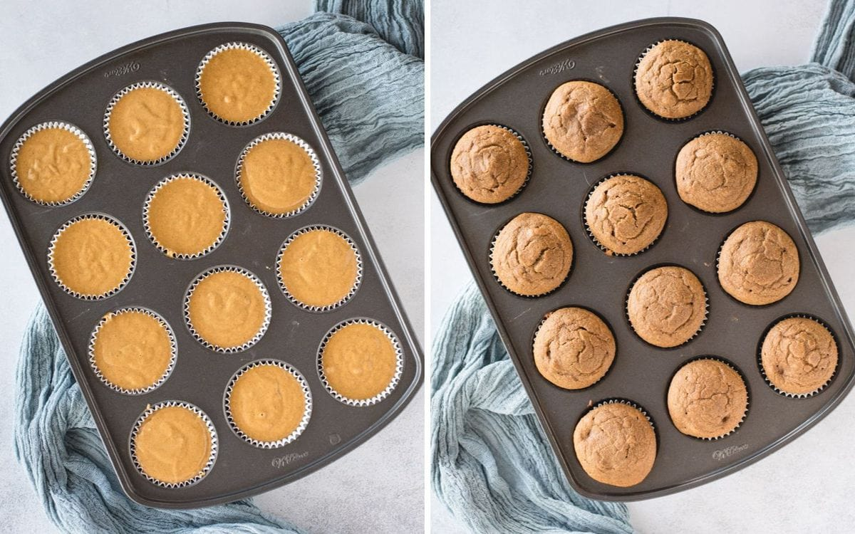 side by side pictures of pumpkin muffins in muffin tin before and after baking