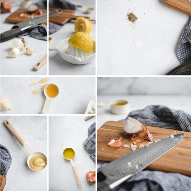 collage with spoons and cutting board with shallot and other ingredients on white background
