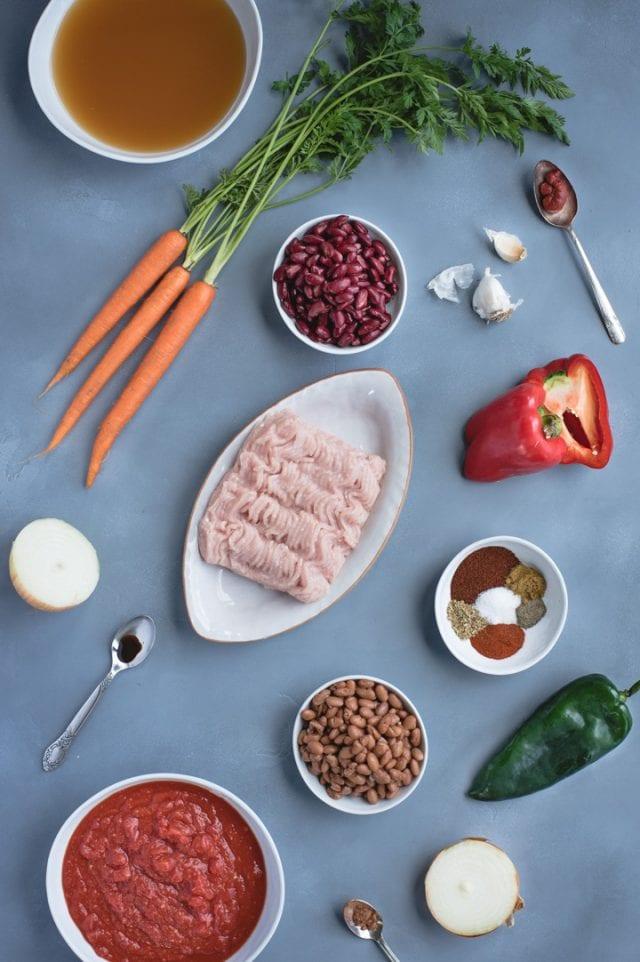 overhead shot of instant pot turkey chili ingredients