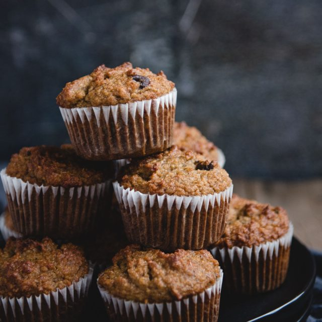 Close up picture of tower of stacked banana muffins