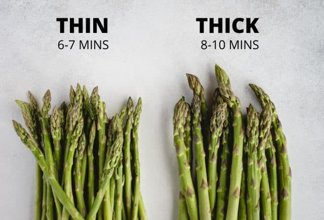 picture of thick and thin bunches of asparagus next to each other with text above on cook times
