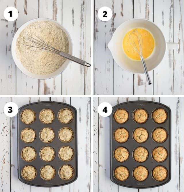 step by step process shot compilation for making almond poppy seed muffin