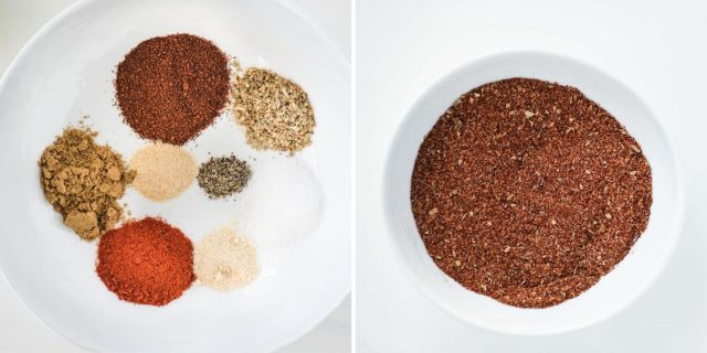 before and after picture of chicken taco seasoning ingredients dumped separately in a bowl and after they get stirred together