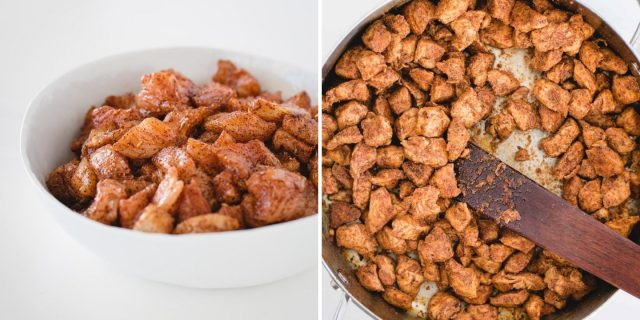 before and after picture of seasoned chicken in a bowl and cooked chicken in a skillet