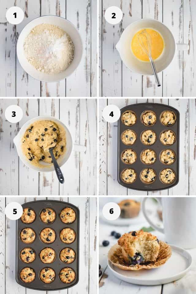 step by step process shots for making gluten free blueberry muffins