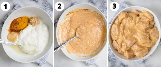 3 side by side process pictures of yogurt chicken marinade being made