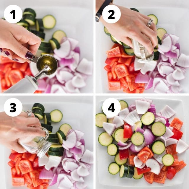 four numbered process shot pictures in a grid showing vegetables being oiled, salted, peppered and tossed