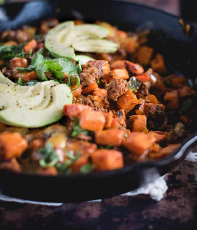 close up picture of chorizo sweet potato skillet